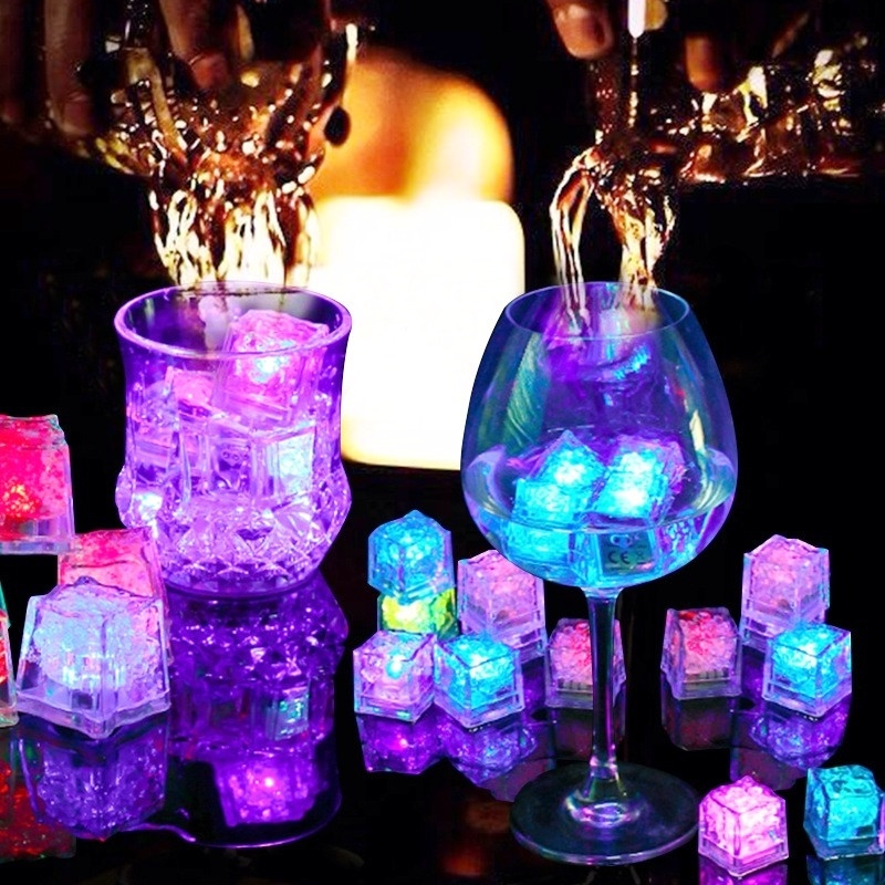 6/12PCS LED Ice Cubes Glowing Party Flash Lights Colorful Touch Sensor Night Light Wedding Festival Bar Decoration Dropshipping