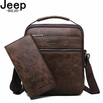JEEP BULUO Men Bag Famous Shoulder Messenger Bags Split Leather Designer Crossbody Tote Fashion Business High Quality