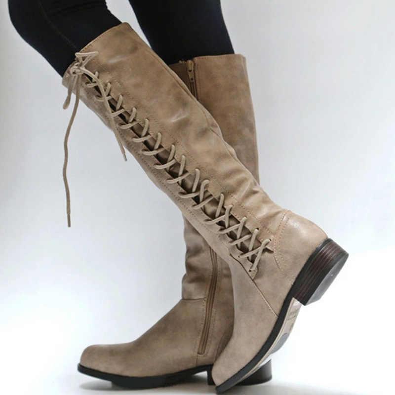 Rome Style femmes bottes à lacets cuissardes minces femmes chaussures d'hiver nouvelles femmes chaussures femmes bottes d'hiver livraison gratuite