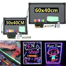 60/30 см неоновая светодиодная монтажная панель стираемый светодиодный меню Сообщений мигающая светящаяся рекламная панель пишущий знак доска+ 8 хайлайтер