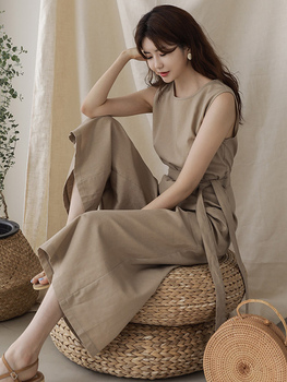 High qulity soft cotton linen with pockets sashes womens jumpsuit jumpsut casual solid overal jumpsuits