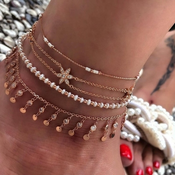 Bohemian jewelry Fashion Gold Chain Ankle Bracelet for Women Star Pendant Handmade Chain Anklet 4pcs/Lot Foot Jewellry