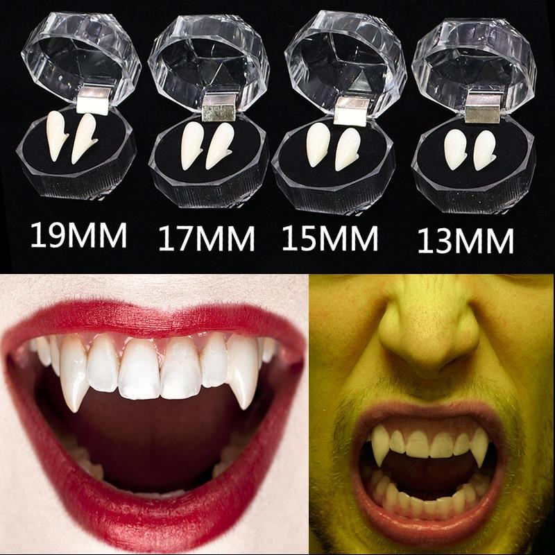 Un par de seguro resina disfraz de Halloween apoyos del Partido de la mascarada de 13/15/17/19mm dentadura accesorios dientes de vampiro colmillos para niños adultos