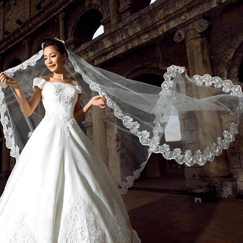Neue Weiß Elfenbein Kathedrale Länge Spitze Rand Braut Hochzeit Braut Schleier Lange Trails