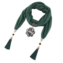Ancient silver flower Polyester tassel jewelry scarf alloy large rose pendant lady