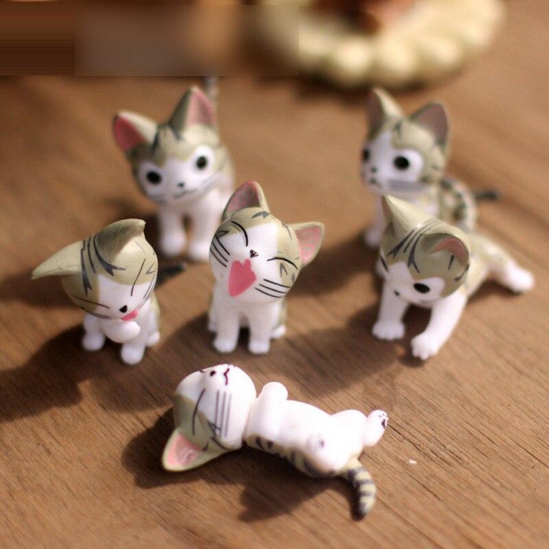 6 шт., миниатюрные фигурки кошек, феи, сада