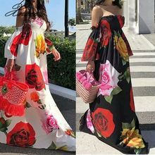 Xnxee A-line off shoulder bohemian dress women floral printed long autumn 2019 fashion holiday maxi Boho dresses