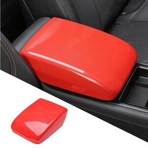 Image 3 - Car Styling Center Console Armrest Box Cover Decoration Sticker Trim For Adui Q5 FY 2018 2019 LHD Carbon Fiber Color Decals