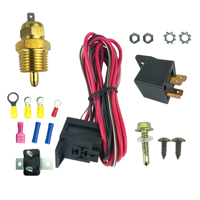 Electric Fan Wiring Install Kit Complete Thermostat 50Amp Relay 185° SBC,