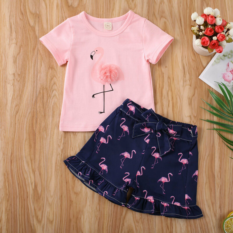 2020 Summer Girl Clothes Toddler Baby Girl Flamingo Tops T-shirt Shorts Pants Outfits Clothes Set 0-4T