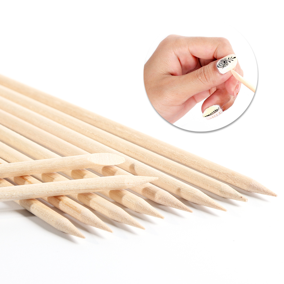 100pcs Orange Wood Sticks Cuticle Pusher Gel Nail Polish Remover Double Head Nail Art Designs Pedicure Care Manicure