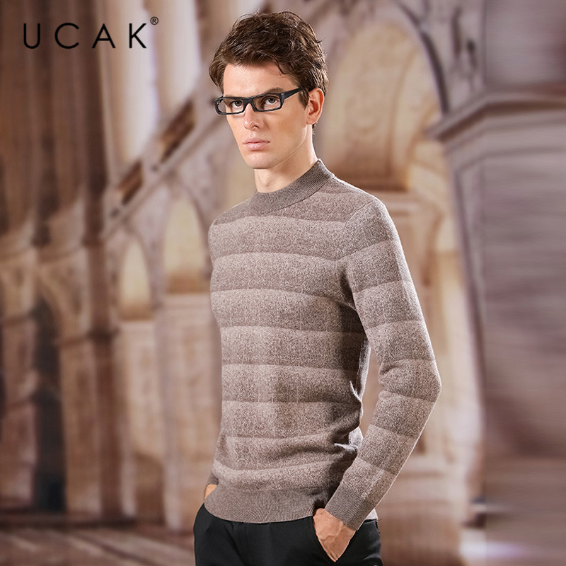 UCAK Brand Pure Merino Wool Sweaters Men 2020 New Arrival Striped O-Neck Casual Spring Style Tops Fashion Sweater Pullover U3168