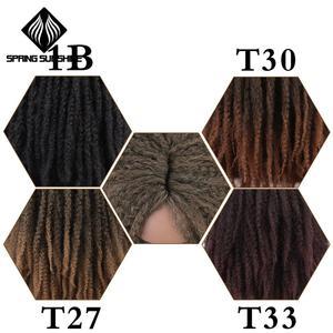 Image 5 - 18Inch Synthetische Afro Kinky Straight Pruiken Natuurlijke Zwart Marley Vlechten Pruik Voor Vrouwen