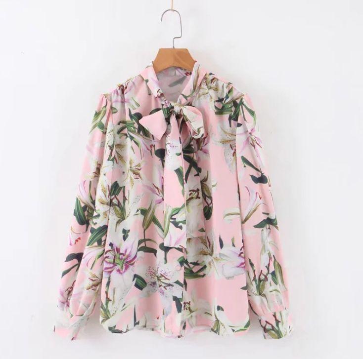 Women Blouses 2019 Autumn Women's Temperament Sweet Floral Print With Bow Shirt
