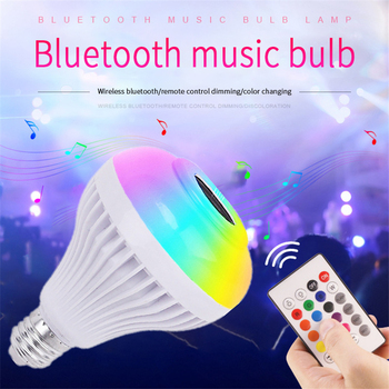 Luxury Bluetooth Speaker Smart LED Music Playing Bulb Speakers E27 RGB Light 12W Remote Control Boombox Colorful LED Speaker