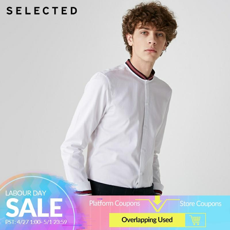 SELECTED Men's 100% Cotton Baseball Collar Regular Fit Shirt S|419105513