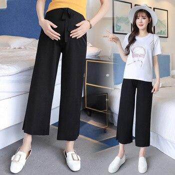 цена на Maternity Pants Length Thin Wide Leg Loose Pants Elastic Waist Belly Trousers Clothes for Pregnant Women Formal Work Clothing