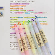 Surligneurs Double tête en cristal 6 pièces/ensemble, couleur bonbon, marqueur de dessin, aquarelle, pinceau d'art, stylo cadeau, papeterie