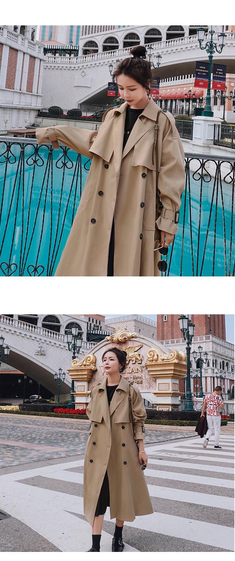 H68d7949c63414673b00554d31c3cbe1f1 2021 Autumn Women Trench Coat With Belt Women Clothes Blue Coat Casaco Feminino Harajuku Abrigo Mujer Long Trench Femme
