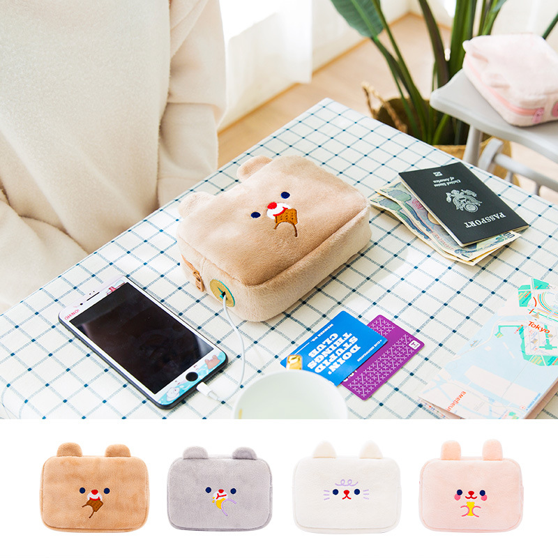 Cute Cartoon Phone USB Bag Travel Digital Electronic Accessories Pouch Case USB Charger Power Bank Holder Kit Bag In Winter