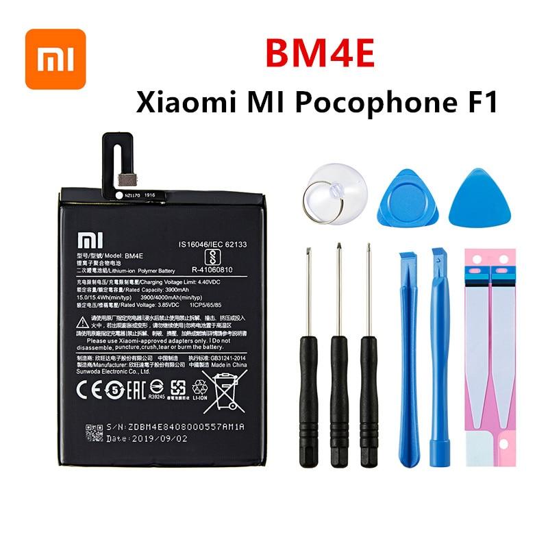Xiao Mi 100% Orginal BM4E 4000mAh Battery For Xiaomi MI Pocophone F1  BM4E High Quality Phone Replacement Batteries +Tools