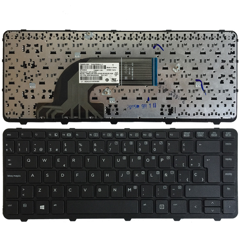 New Spanish Laptop Keyboard For HP ProBook 640 440 445 G1 G2 640 645 430 G2 SP Black Keyboard With Frame