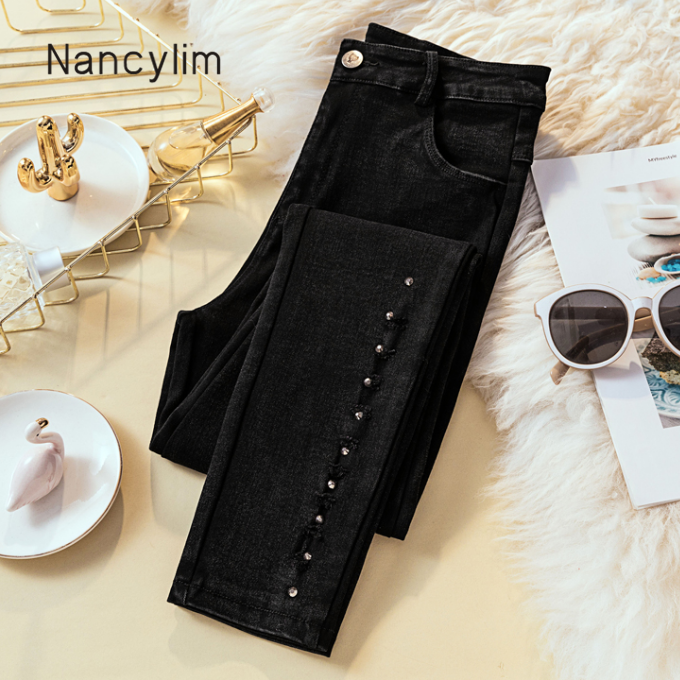 Plus Size Black Jeans Woman New High-waistband Elastic Pencil Pants Rivet Denim Trousers  Lady Casual Soft Tights Trousers Femme