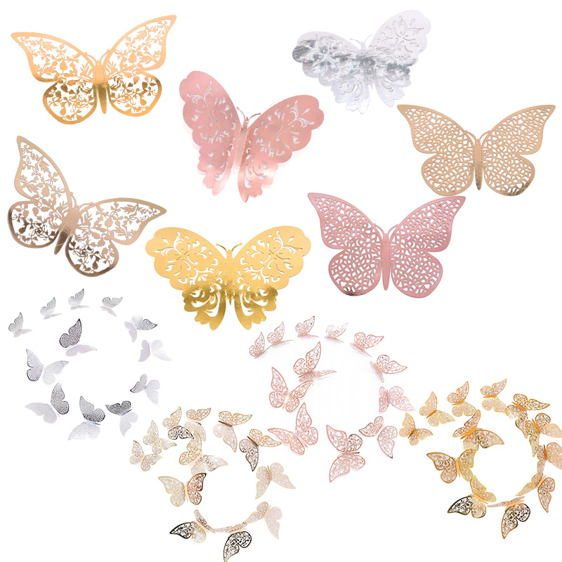 12pcs 3D Butterfly Wall Stickers 3 Sizes Silver Gold Hollow Paper Decals Party Wedding Hanging Decorative Sticker Home Supplies
