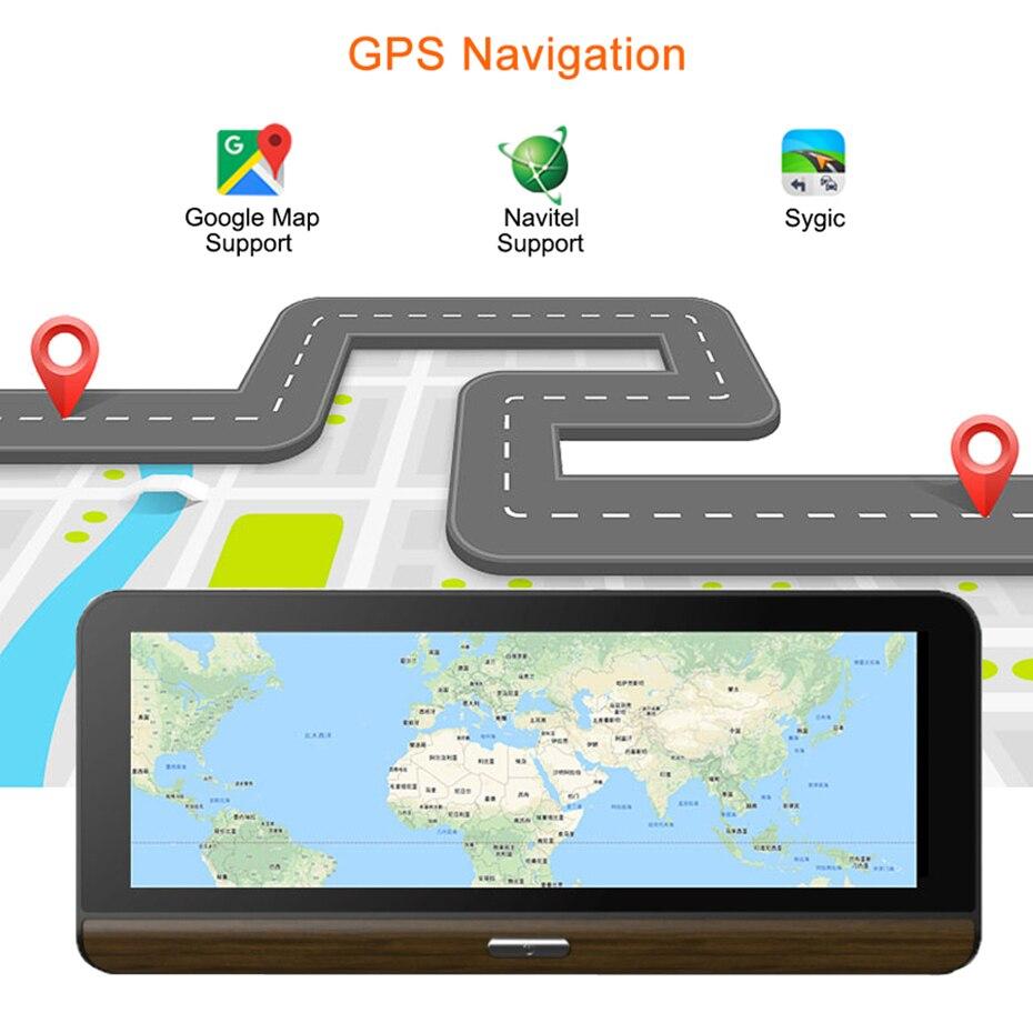 WHEXUNE 8 Cal 4G kamera samochodowa GPS FHD 1080P podwójny obiektyw aparat z panelem z systemem Android kamera na deskę rozdzielczą nawigacji ADAS samochodowy rejestrator wideo