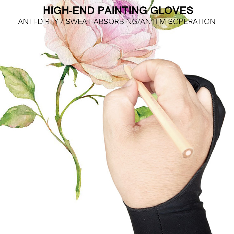 Два-пальцы художника анти-сенсорные перчатки для планшет для рисования правой и левой руки перчатки, предотвращающая контакт с экраном для ipad Экран доска
