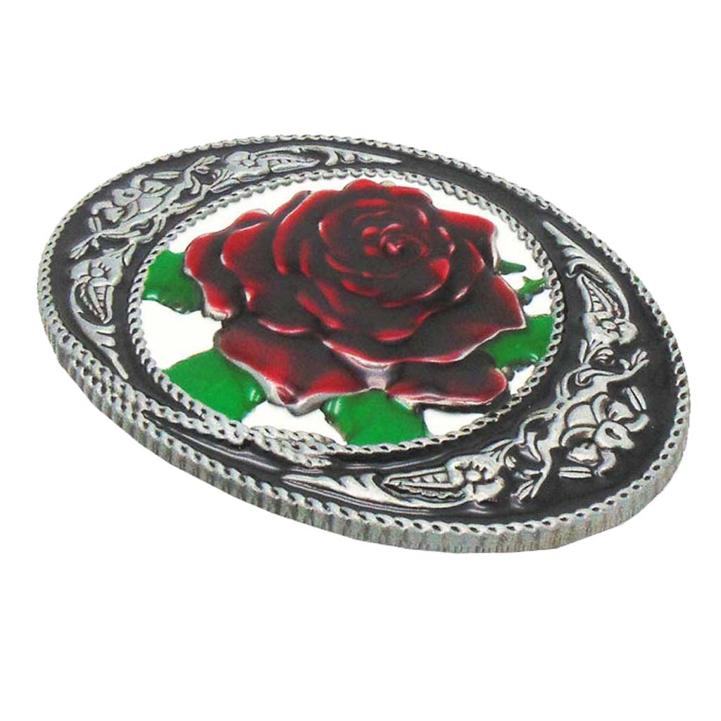 Novelty Red Rose Flower Cowgirl Western Vintage Metal Belt Buckle Women Accessories