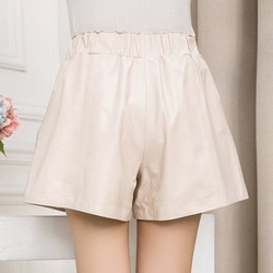 High Quality Women Elastic Waist Wide Leg Short Pants 8 Colors Casual Streetwear Shorts Slim Fit Sheepskin Real Leather Shorts