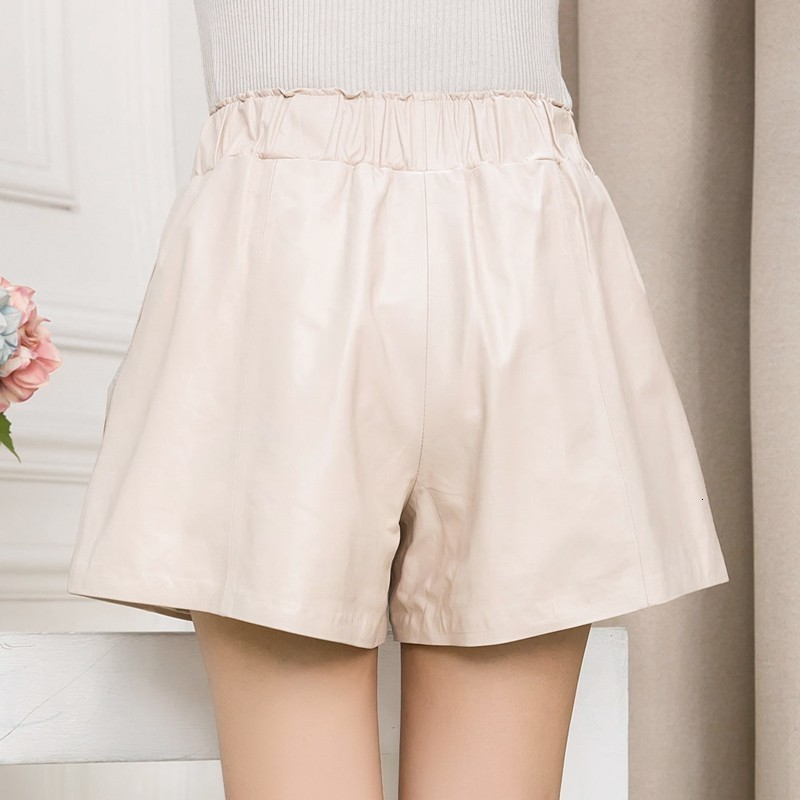 High Quality Women Elastic Waist Wide Leg Short Pants 8 Colors Casual Streetwear Shorts Slim Fit Sheepskin Real Leather Shorts