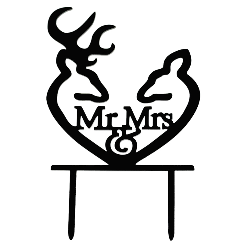 ABKT-Creative Mr And Mrs Personalized Wedding Cake Toppers Deer Cake Topper For Special Events
