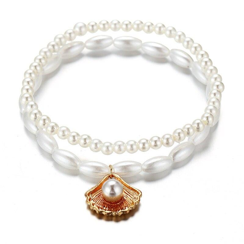 Bracelet on the leg female Anklets Set for Women Imitation Pearl Shell Beads Ankle Bracelets on foot Female Beach Foot Jewelry