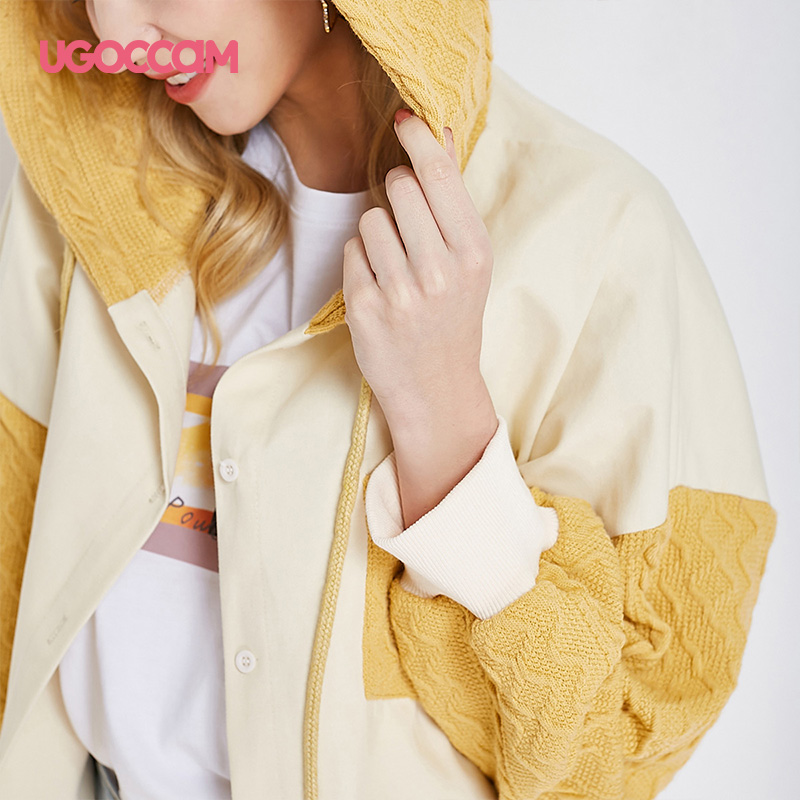 UGOCCAM Hooded Coat Yellow Women Coat Trench Oversize Splice Knitted Winter Windproof With Waistband Fashion Outwear Outdoor 4