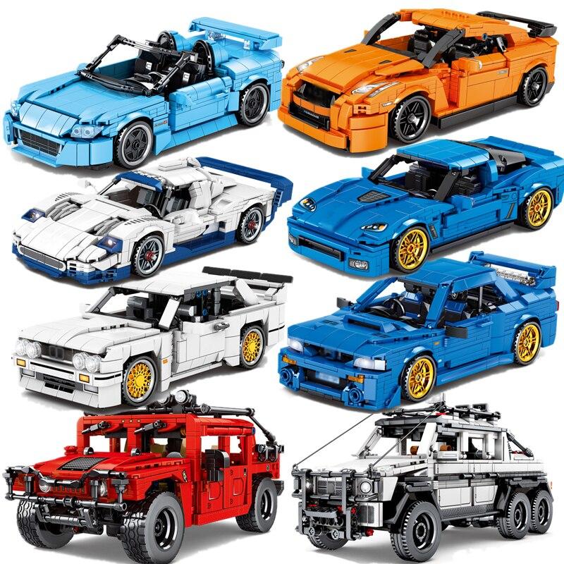 Технический скоростной чемпион, спортивный автомобиль, строительный блок, город, тяговый автомобиль, творческие идеи, кубики MOC, детские игр...
