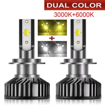 2PCS dual color Auto LED H3 HB4 H27 881 Headlight fog lamp H7 H4 H1 H11 H16 Car headlamp bulb 3000k 8000k 6000k in one lights image