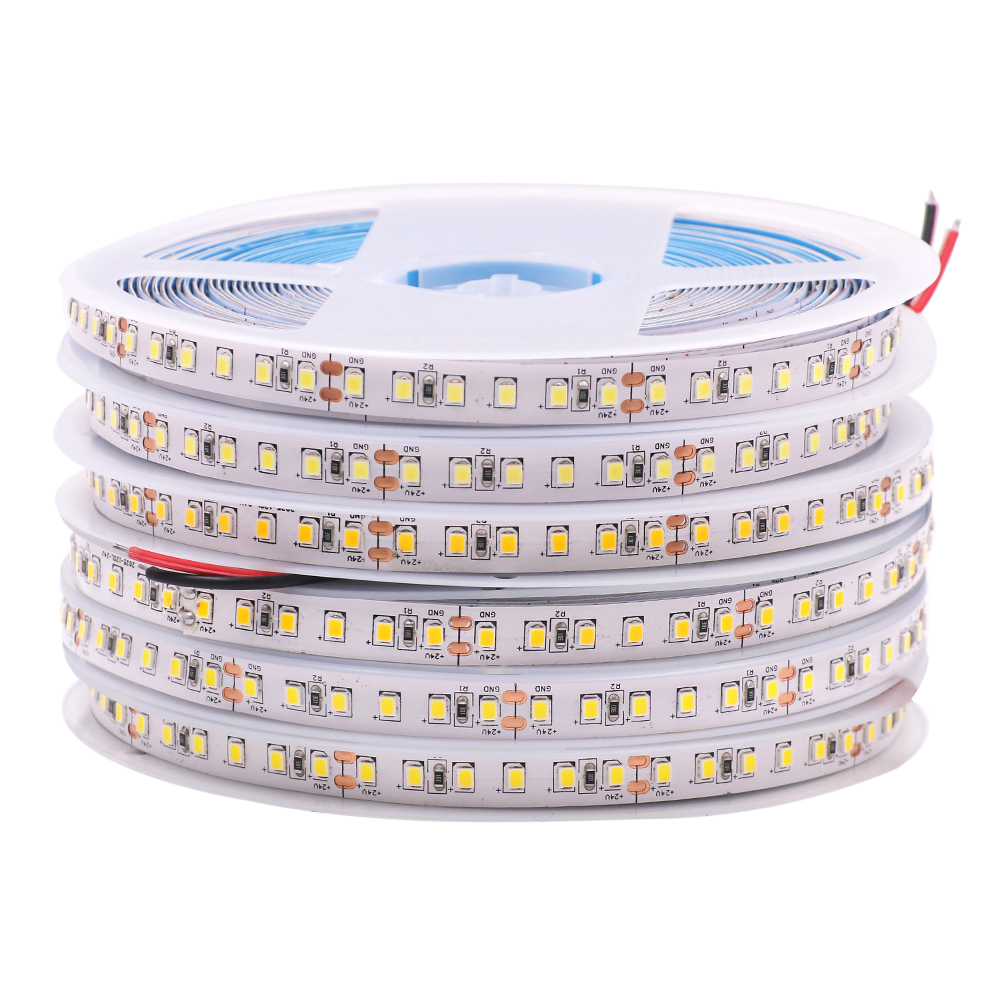 12V 24V 2835 Светодиодные ленты 5, 10 м, 15 м, 20 м клейкие ленты светильник лента 60/120/240/480 LED естественный белый/теплый белый/холодный белый домашний д...