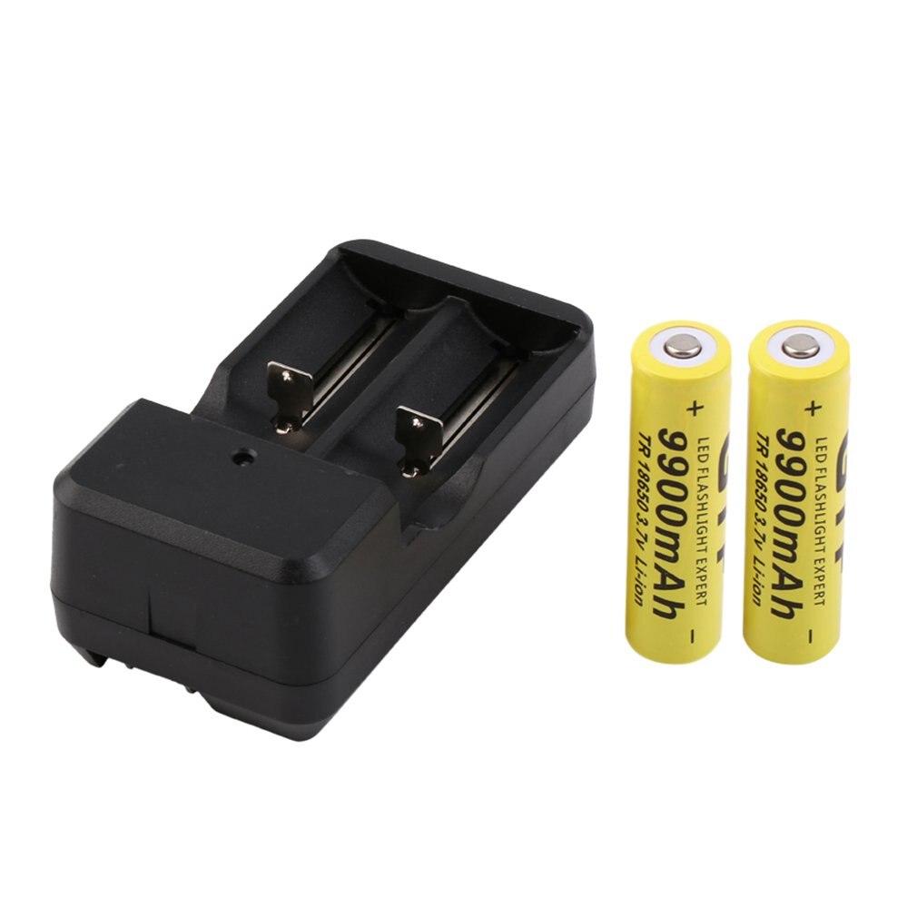 2pcs 3.7V 18650 9900mah Li-ion Rechargeable Battery + Universal US Plug Charger Promotion