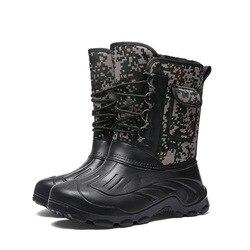 Homens botas de pesca caçador chuva com pele dentro camuflagem à prova dwaterproof água inverno meados de bezerro botas de neve masculina quente sapatos 2019
