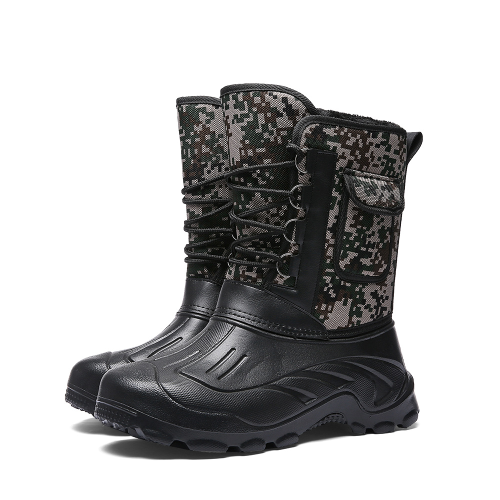 Men Fishing Boots Hunter Rain With Fur Inside Waterproof Camouflage Winter Men Mid Calf Boots Warm Male Snow Boots Shoes 2019
