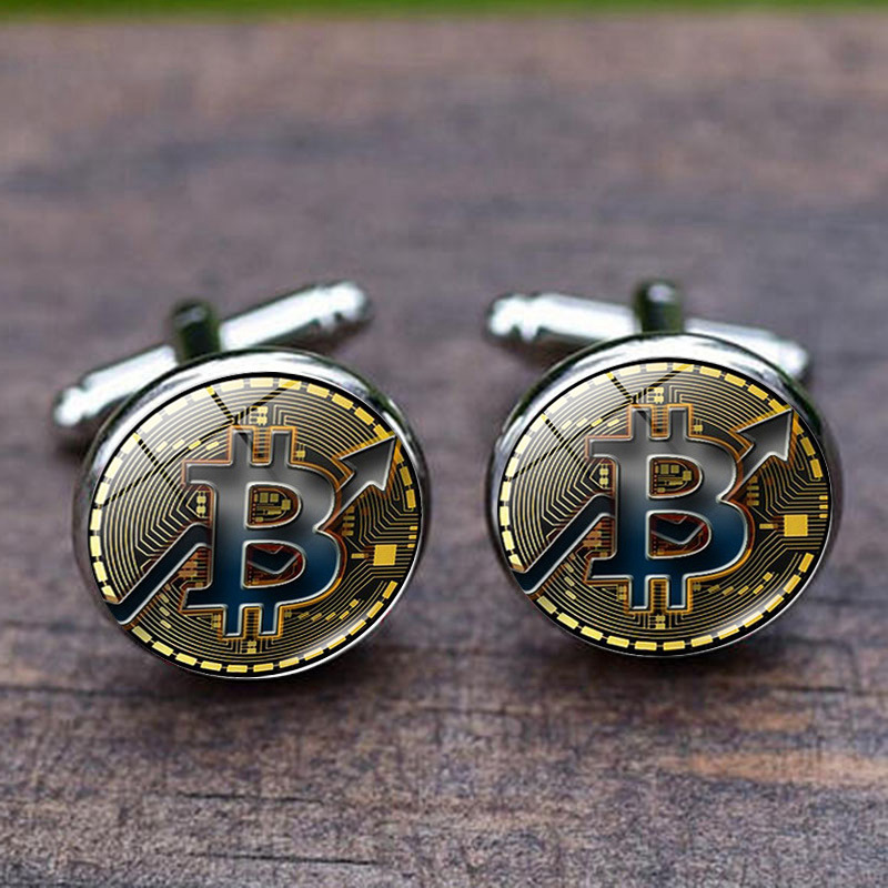 French Shirt Cufflinks Men's Metal Banquet Round Bitcoin Button Personalized Creative Exquisite High Quality Cuff Link Gifts
