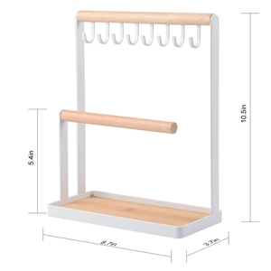 Image 2 - Jewelry Display Stand Holder with Wooden Ring Tray and Hooks Storage Necklaces Bracelets, Rings, Watches