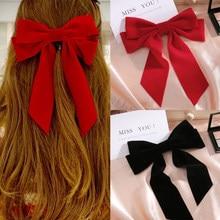 IFMIA Vintage Black Big Large Velvet Bow Hair Clip For Women Girls Wedding Long Ribbon Korean Hairpins Barrette Hair Accessories