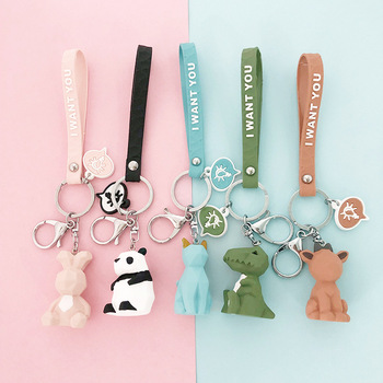 Cute Cartoon Geometric Faceted Animal Keyring Dinosaur Panda Dog Doll Bt21 Keychain for Couple Car Key Chain Women Bag Pendants image