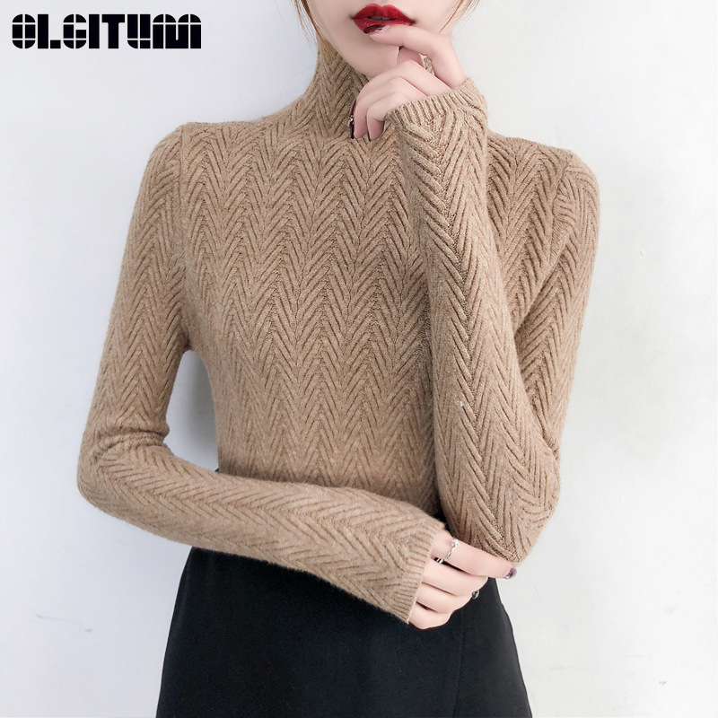 Underwear Women Autumn And Winter 2020 New Sweater Slim Long Sleeve Tight Knitted Bottom Shirt Thickening Tops Female