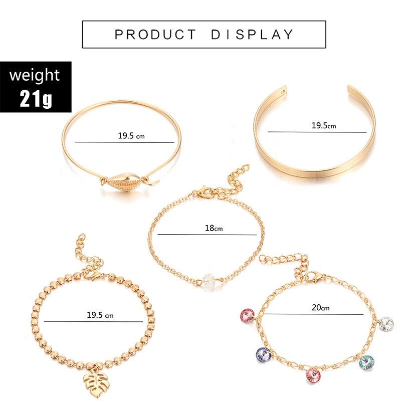 5 pcs/set Gold Shell Charm Bracelets for Women Colorful Crystal Beads Gold Link Chain Bracelets Set Gold Beads Strand Braclet