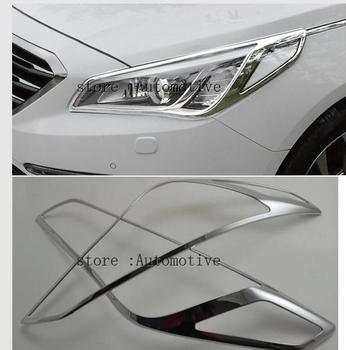 Для Hyundai Sonata Lf Хромированная передняя фара Крышка лампы 2015 2016 2017 2018 отделка фар литье гарнир объемная рамка ободок