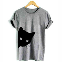 Tops Punk Shirt Tee Letter Print Face Harajuku Black Cartoon Cat Femme Casual O-Neck